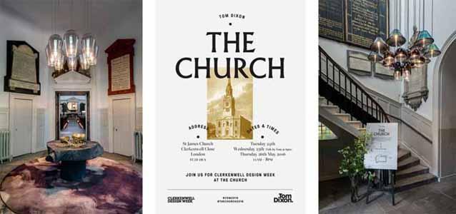 Ультрасовременные светильники в интерьере старой церкви. Невероятная презентация от Тома Диксона