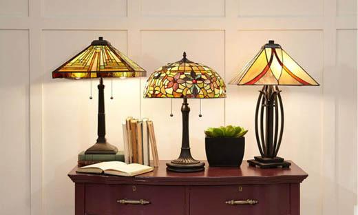 Витражные светильники Quoizel Asheville в стиле тиффани